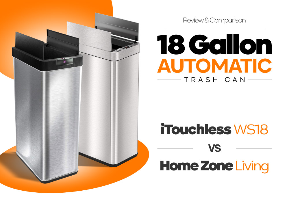 18 Gallon Automatic Trash Can - iTouchless WS18 vs Home Zone Living