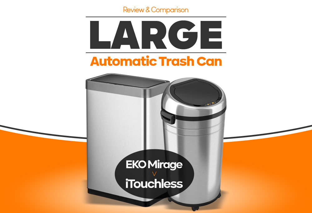 Large Automatic Trash Can - EKO Mirage vs iTouchless